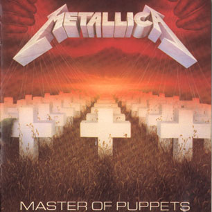 Paroles de chansons et pochette de l'album Master of puppets de Metallica